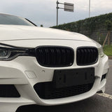 BMW 3 Series F30 F31 Gloss Black Dual Line Style Front Bumper Grilles