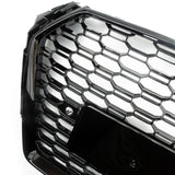 Audi A4 B9 2015-2019 RS4 Style Honeycomb Mesh Gloss Black Front Bumper Grille