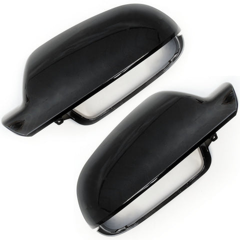 Audi A3 A4 A5 Black Door Wing Mirror Covers Caps Pair Left & Right