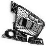 Audi A4 B8 RS4 Style Honeycomb Front Grille & Fog Light Covers Kit