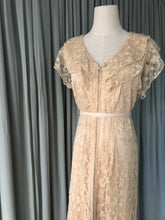 1940s Needle lace gown with pink lining