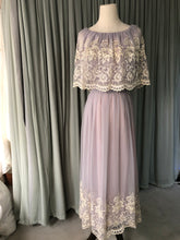 1970s Lavender Embroidered Dress