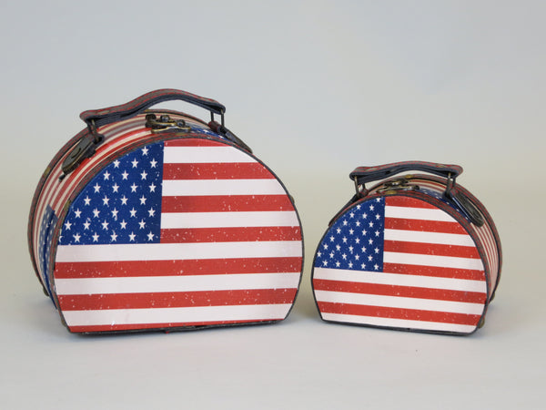 Stars & Stripes American USA Flag 2 Piece Vintage Trunk Style Storage Boxes with Brown Leatherette Handle