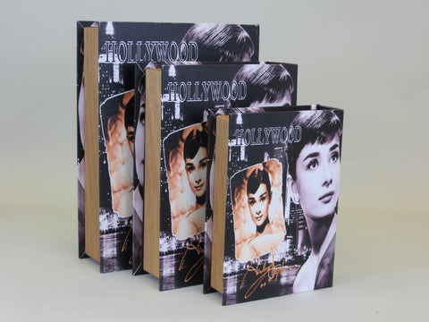 Audrey Hepburn Hollywood Book Gold Page 3 Piece Storage Case Set Boxes