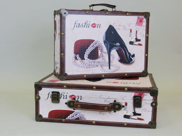 Fashion Paris Inspired Louboutin Lipstrick print Brown Leatherette Trunk White Storage Boxes