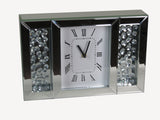Crystal Decor Mirrored Glass Analogue White Face Floating Jewels Diamonds Mantle Clock