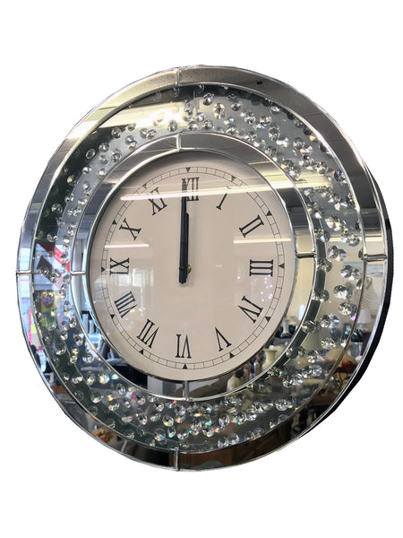 Crystal Decor Circular Floating Jewel Wall Clock