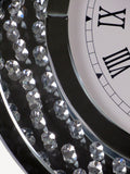 Crystal Decor Floating Mirrored Glass Crystal Jewel Gem Diamond Circular Circle Wall Analogue Clock