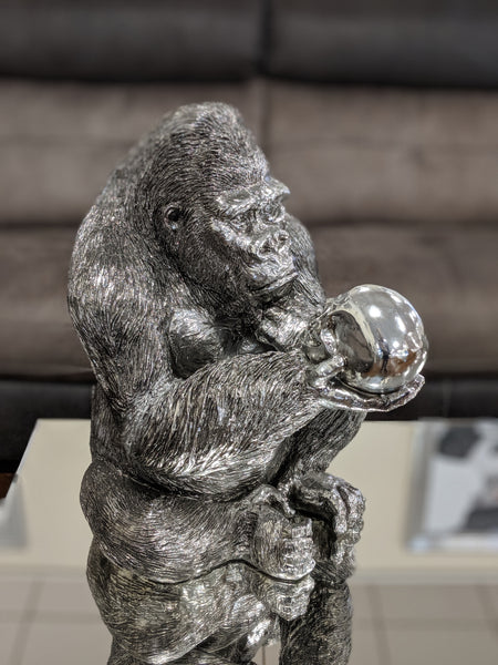 Silver Electroplated Gorilla Holding Skull Ornament