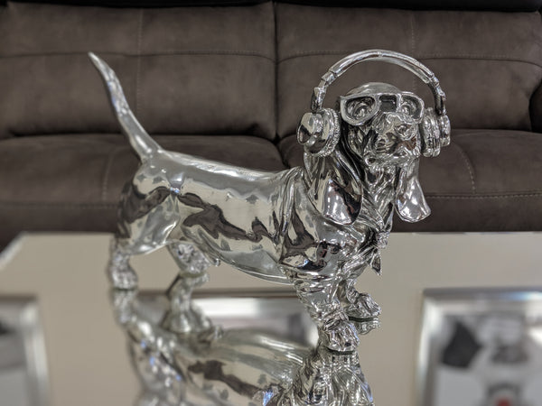 Silver Sausage Dachshund Dog Ornament with Headphones