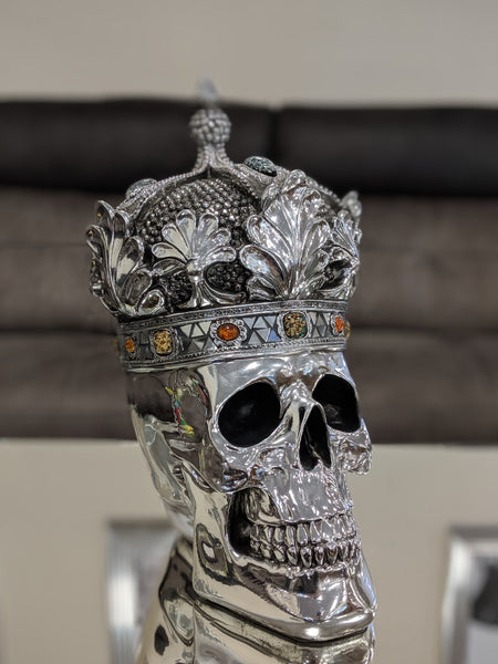Silver Electroplated Fallen Queen with Crown Skull Ornament