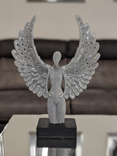 Standing Silver Spread Angel Wings Diamante & Mosaic Ornament