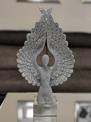 Tall Silver Spread Angel Wings Diamante & Mosaic Ornament