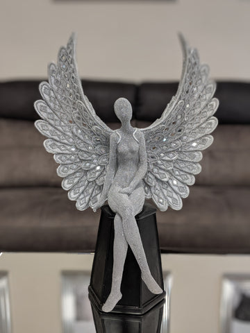Sitting Silver Spread Angel Wings Diamante & Mosaic Ornament