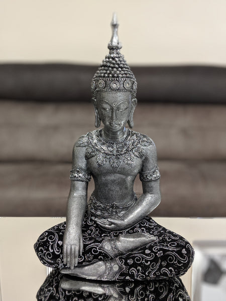 Silver & Black Sitting Praying Lotus Buddha Ornament