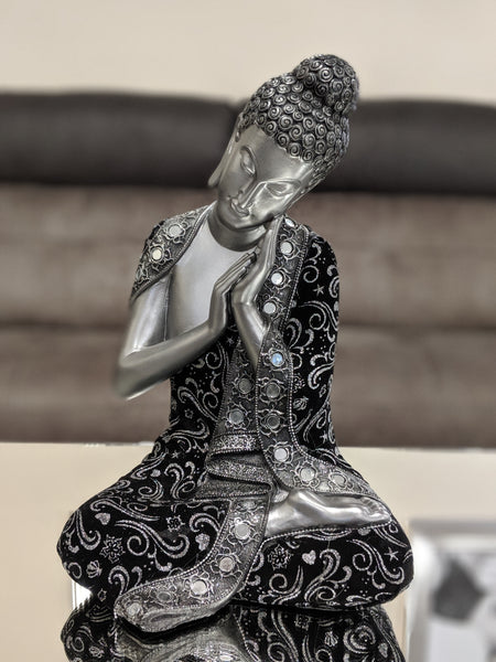 Silver & Black Left Hand Facing Buddha Ornament