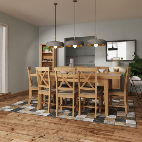 Oak & Hardwood Rustic 1.7m Extending Butterfly Dining Table