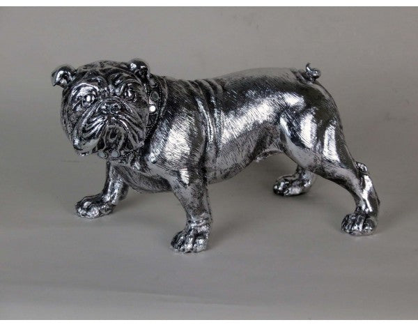 Silver Standing Bulldog Ornament with Mirrored Collar