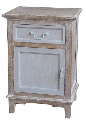 Cornwell Grey MDF Wood Veneer Country side Shabby Chic 1 Drawer Bedside Table