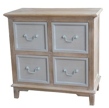 Cornwell Grey 4 Drawer Cabinet Shabby Chic Country Side