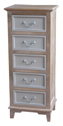 Cornwell Grey Shabby Chic Countryside 5 Drawer Narrow Chest