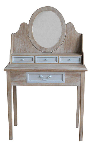 Cornwell Grey Dressing Table with 5 Drawers and Mirror Countryside Shabby Chic Rustic