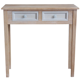 Cornwell Grey Shabby Chic Countryside Rustic 2 Drawer Desk Side Table
