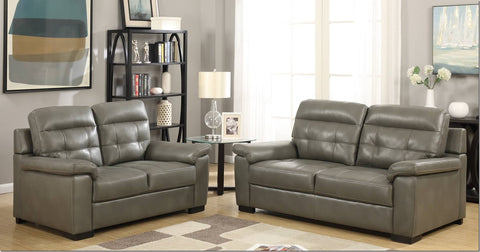 Leather Look Pillow Quilted Grey Fabric Suite 2 Seater 3 Seater Sofa