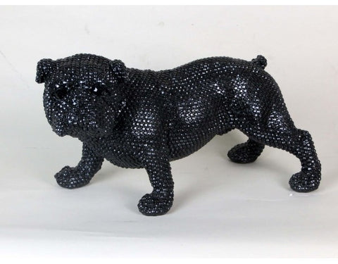 "16"" Black Standing Black Diamante Style Bulldog Ornament"