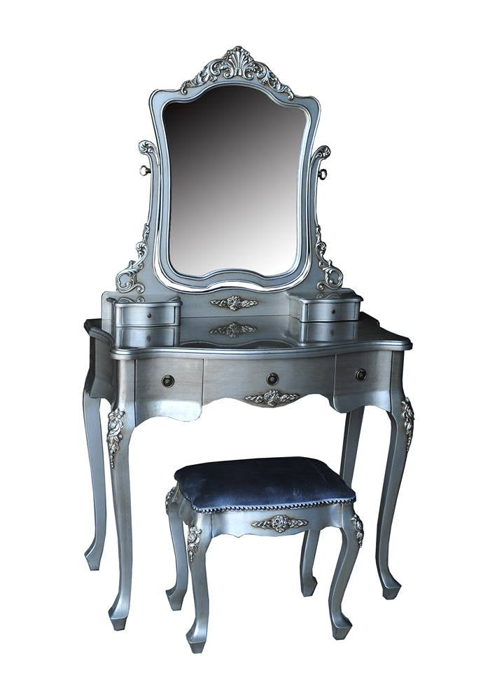 Mirrored Vanity Table And Stool: Silver Antique French Dressing Table With Mirror And Stool