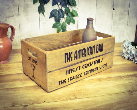 Solid Wood Vintage Cocktail Bar 1920s Retro Carry Crate
