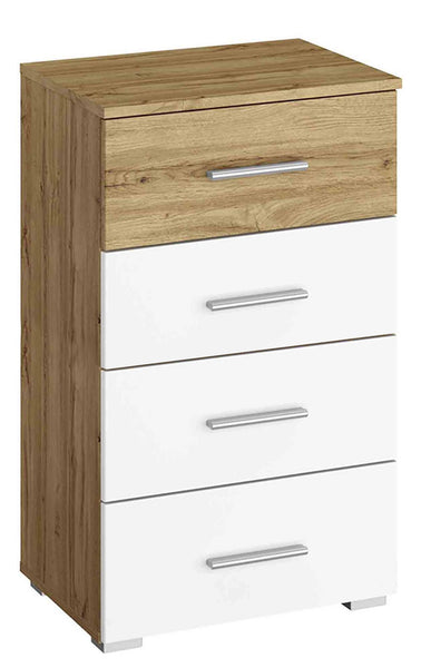Kobi Korbach Alpine White & Wotan Oak Colour Narrow 4 Drawer Chest