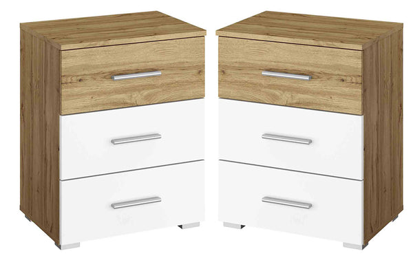Pair of Kobi Korbach Alpine White & Wotan Oak Colour 3 Drawer Chest