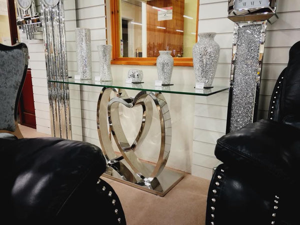 L'Amour Stainless Steel Love Heart Glass Console Table