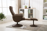 Sienna Swivel Faux Leather Recliner Chair with Stool - Mocha