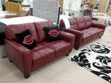 Quilted Padded Stitched Design Ox Blood Leather 3 and 2 Seater Sofa