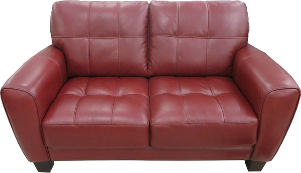 Quilted Padded Stitched Design Ox Blood Leather 2 Seater Sofa