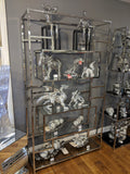Silver Stainless Steel & Clear Glass Geometric Shelving Unit