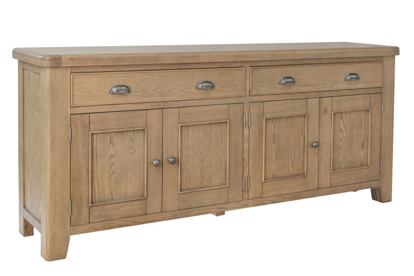 Warm Rustic Oak Effect 4 Door & 4 Drawer Sideboard