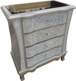 Silver Crackled Crushed Glass 4 Drawer Chest of Drawers
