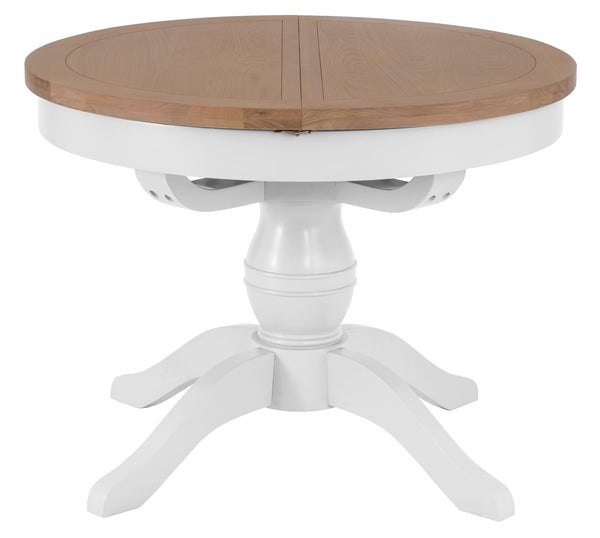 Round Oak & Hardwood White Extending Table