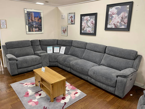 Jacob Recliner Grey Fabric Corner Sofa with Storage Arm & Drinks Holder