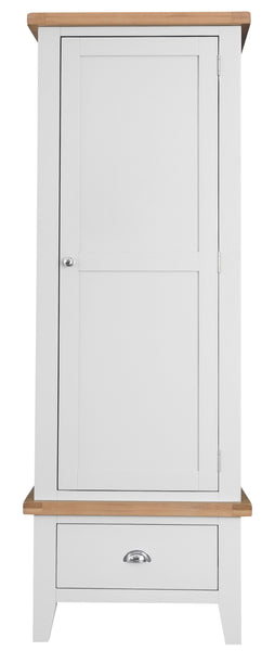 Oak & Hardwood White Single Wardrobe