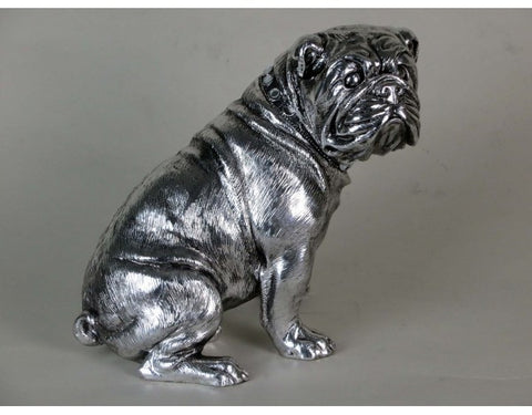 "8"" Silver Sitting Bulldog Ornament with Mirrored Collar"