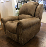 Light Brown Leather Look Fabric Stitch Detail Rocker Recliner Collection