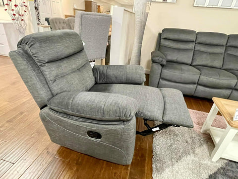 Alfie Grey Fabric Recliner Arm Chair