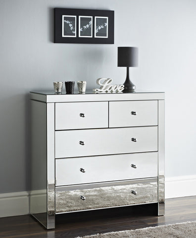 Mirrored 5 Drawer Chest of Drawers