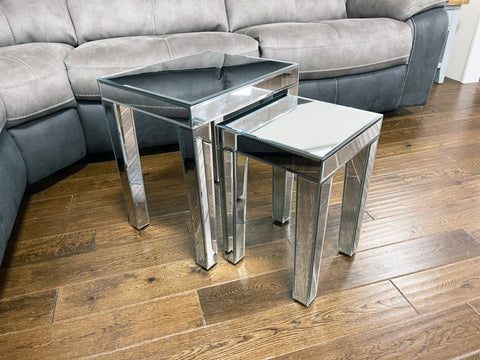 Ornate Mirrored Nest of 2 Tables