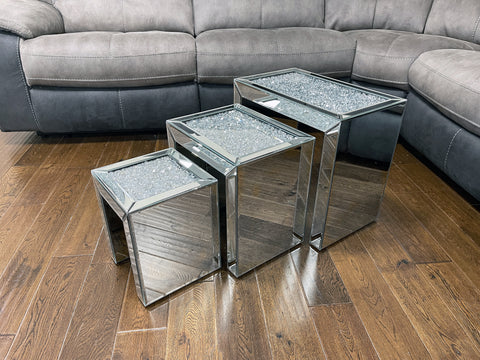 Crushed Diamante Nest of 3 Mirrored Tables
