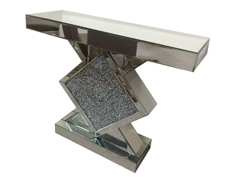 Crushed Diamante Diamond Mirrored Console Table